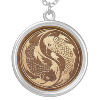 Aged and Worn Yin Yang Koi Fish Silver Plated Necklace