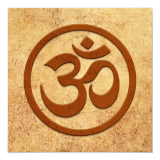Aged and Worn Yoga Om Circle 5.25x5.25 Square Paper Invitation Card