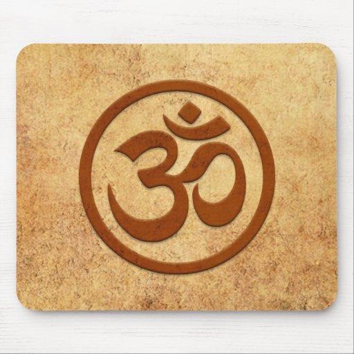Aged and Worn Yoga Om Circle Mousepad