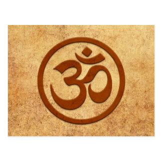 Aged and Worn Yoga Om Circle Postcard