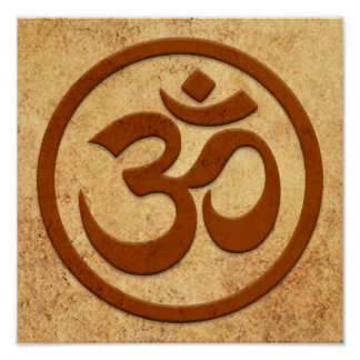 Aged and Worn Yoga Om Circle Print