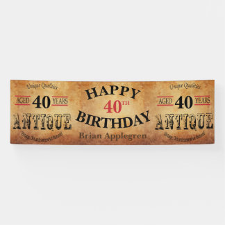 Aged, Antique and Vintage 40th Birthday Design Banner