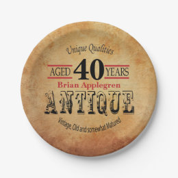 Aged, Antique and Vintage 40th Birthday Design Paper Plate