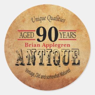 Aged, Antique and Vintage 90th Birthday Design Classic Round Sticker