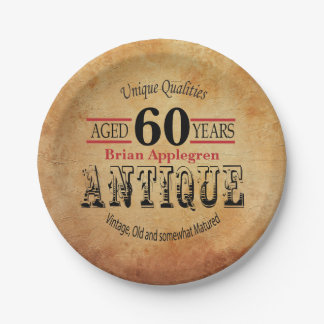 Aged, Antique and Vintage Birthday Design Paper Plate