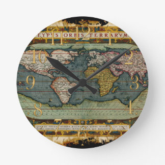 Aged Antique Old World Map History Designer Clock