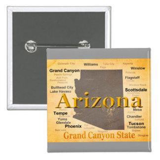 Aged Arizona State Pride Map Pinback Button