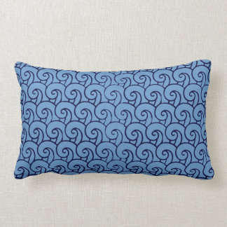 Aged art deco style wave pattern (blue) throw pillow