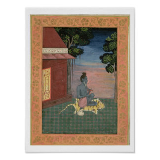 Aged ascetic seated on a tiger skin outside a buil poster