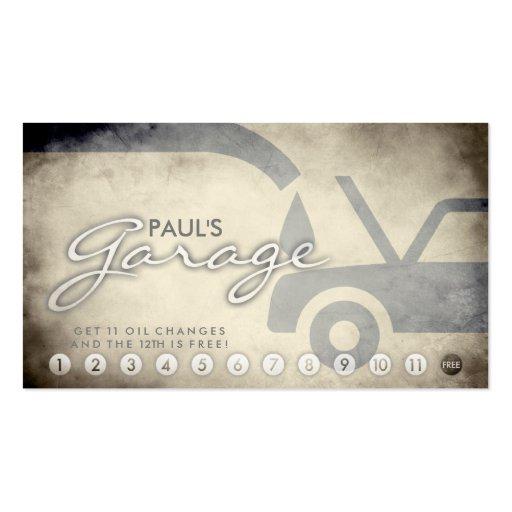aged auto garage loyalty card business card