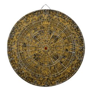 Aged Aztec Mayan Sun Stone Calendar Dartboard With Darts