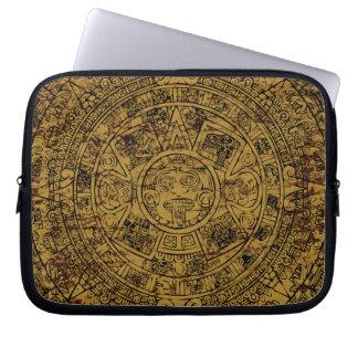 Aged Aztec Mayan Sun Stone Calendar Laptop Computer Sleeve