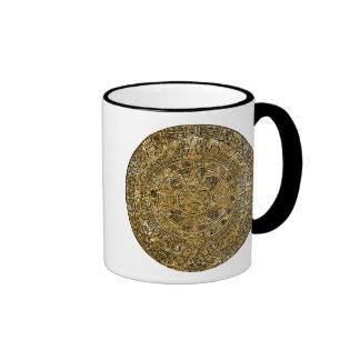 Aged Aztec Mayan Sun Stone Calendar Ringer Coffee Mug