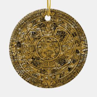 Aged Aztec Mayan Sun Stone Calendar Double-Sided Ceramic Round Christmas Ornament