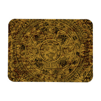 Aged Aztec Mayan Sun Stone Calendar Flexible Magnet