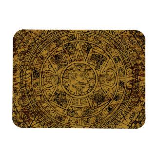 Aged Aztec Mayan Sun Stone Calendar Rectangular Photo Magnet
