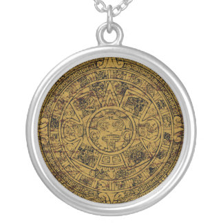 Aged Aztec Mayan Sun Stone Calendar Silver Plated Necklace