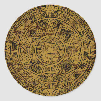 Aged Aztec Mayan Sun Stone Calendar Classic Round Sticker