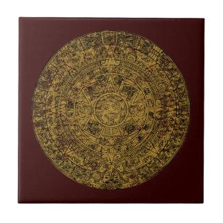 Aged Aztec Mayan Sun Stone Calendar Small Square Tile