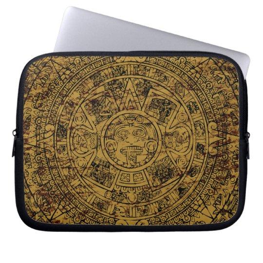 Aged Aztec Sun Stone Calendar Laptop Sleeve