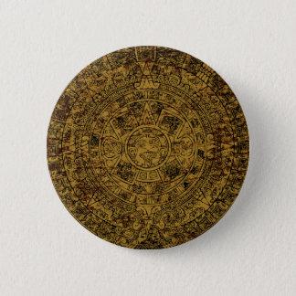 Aged Aztec Sun Stone Calendar Pinback Button