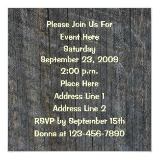 """Aged Barnboard Design Invitation 5.25"""" Square Invitation Card"""