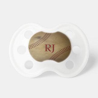 Aged Baseball with Custom Monogram Baby Pacifier