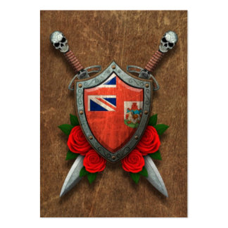 Aged Bermuda Flag Shield and Swords with Roses Business Card