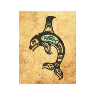 Aged Blue and Black Haida Spirit Killer Whale Gallery Wrapped Canvas