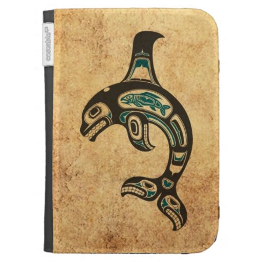 Aged Blue and Black Haida Spirit Killer Whale Kindle Covers