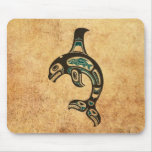 Aged Blue and Black Haida Spirit Killer Whale Mouse Pad