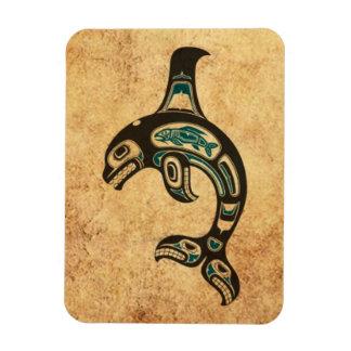 Aged Blue and Black Haida Spirit Killer Whale Vinyl Magnets