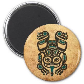 Aged Blue and Black Haida Spirit Tree Frog Refrigerator Magnets