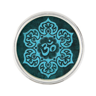 Aged Blue Stone Floral Om