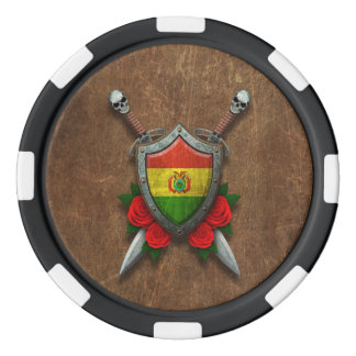 Aged Bolivian Flag Shield with Red Roses Poker Chips