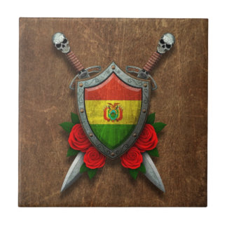 Aged Bolivian Flag Shield with Red Roses Ceramic Tiles