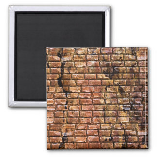 Aged Brick Wall Textured 2 Inch Square Magnet