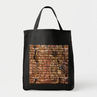 Aged Brick Wall Textured Grocery Tote Bag