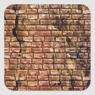 Aged Brick Wall Textured Square Sticker
