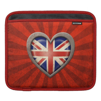 Aged British Flag Heart with Light Rays Sleeve For iPads