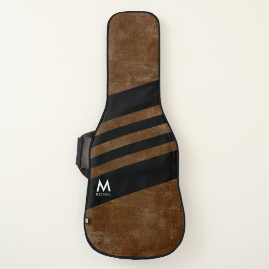 aged brown with black stripes cool monogrammed guitar case
