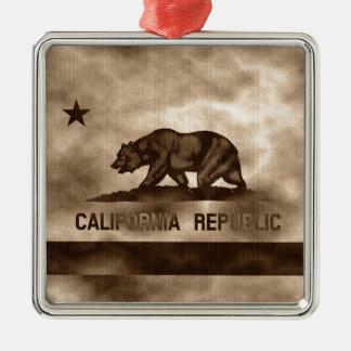 Aged California Flag Metal Ornament