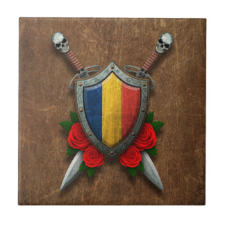 Aged Chad Flag Shield and Swords with Roses Ceramic Tile