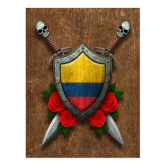 Aged Colombian Flag Shield and Swords with Roses Postcard