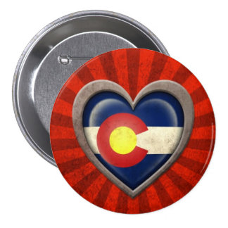 Aged Colorado Flag Heart with Light Rays Buttons