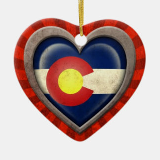 Aged Colorado Flag Heart with Light Rays Ceramic Ornament