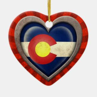 Aged Colorado Flag Heart with Light Rays Christmas Tree Ornaments