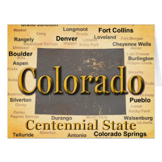 Aged Colorado State Pride Map Silhouette Card