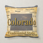 Aged Colorado State Pride Map Silhouette Throw Pillows