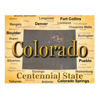 Aged Colorado State Pride Map Silhouette Postcard
